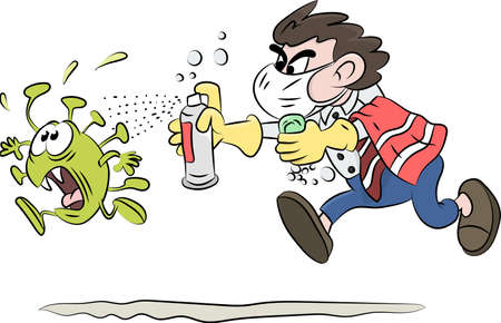 Cartoon man running after corona virus with soap and disinfectant in his hands vector illustration Vector Illustration