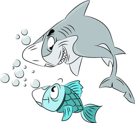 Cartoon shark and fish wearing a protective mask to keep safe from corona virus vector illustration