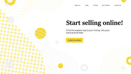 Landing page template. illustration concept with abstract shapes, text for website design and development, app, responsive, programming, seo, maintenance, banner. Online selling home page.  イラスト・ベクター素材