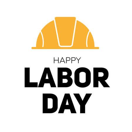 Tag der Arbeit moderne Illustration. Konzept für Grußkarten oder Webbanner. Fetter Text auf weißem Hintergrund mit gelbem Arbeiterhut. Arbeitsleute bezogenes Feiern des internationalen Feiertags.