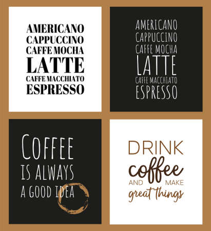 Set of 4 illustrations for kitchen, cage, restaurant or interior poster. Creative layout for coffee lovers on dark and white background. Illustration