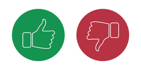Like and dislike icons set. Thumbs up and thumbs down. Vector illustration