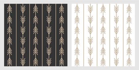 Set of trendy boho style arrow patterns in black and white for layout and background. Gold arrows on modern scandinavian style. Designed for web and prints Ilustracja