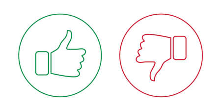 Like and dislike outline icons set. Thumbs up and thumbs down. Vector illustration. Stock Illustratie