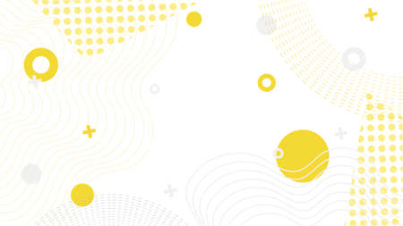 Vector memphis desgni with different geometric elements and waves in yellow on white background. Designed for landing page, website layout or mobile app