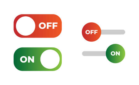 Vector switch button with on and off. Vector illustration. Designed for web and mobile apps. Set of green and red buttons Иллюстрация