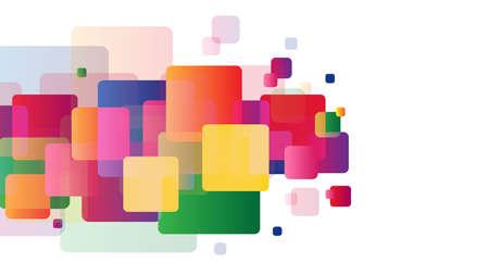 Bunte Steigungsquadrate auf weißem Hintergrund. Business-, Portfolio- oder Layout-Vorlage für Ihr Design. Für Drucke und Web
