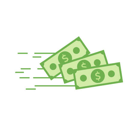 Money vector icon. Bank note. Dollar bill flying from sender to receiver. Design illustration for money, wealth, investment, banking and finance concepts Stock Illustratie