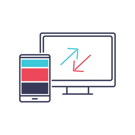 Web Design and Development vector illustration. Website development and IT business image. IT organization and optimization. Outline icon with bright elements Ilustrace