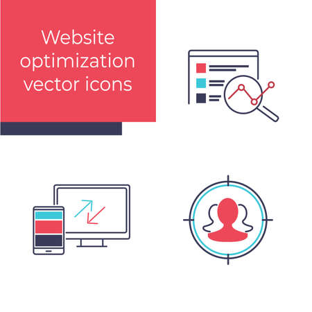 Set of Search Engine Optimization vector illustration. Website development and IT business image. Web Design and Development. Customer-Centric Analytics