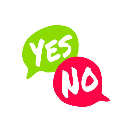Yes No word text on talk shape. Green and red color. Vector illustration yes no in speech bubble on white background. Design element for badge, sticker, mark, symbol icon and card chat.