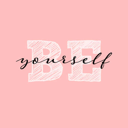 Be yourself quote. Single word. Modern calligraphy text. Design print for t shirt, pin label, badges, sticker, greeting card, banner. Vector illustration  イラスト・ベクター素材