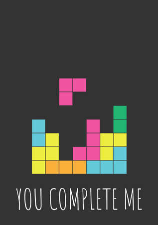 Funny Valentines Day greeting card with tetris game for nerds, gamers and IT developers. Handwritten text on black background with colorful blocks