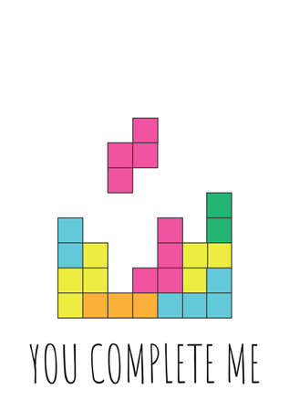 Funny Valentines Day greeting card with game for nerds, gamers and IT developers. Handwritten text on white background with colorful blocks Illustration