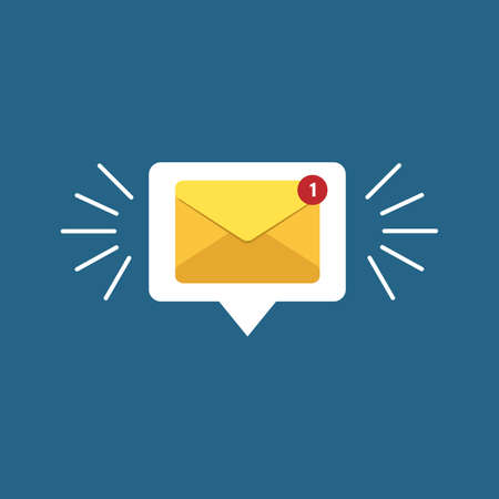 Unread email notification. New message vector illustration. Yellow email alert. Isolated on colorful background Illustration