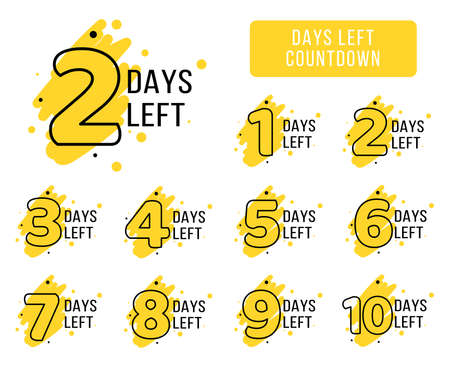 Number of days left tags. Bright yellow coutdown tags for business promotion, sale, discount, announcement. Cool marketing company Illustration