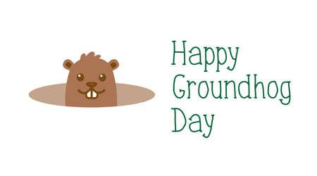 Happy Groundhog day, welcome of spring greeting card. Cute cartoon groundhog with handwritten text. Isolated on white background