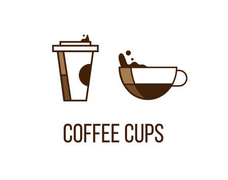 Paper and ceramic or glass cup filled with coffee. Cofee cups creative vector icons. Logo, design elements for cafe, coffee related brand. Isolated on white background Illustration