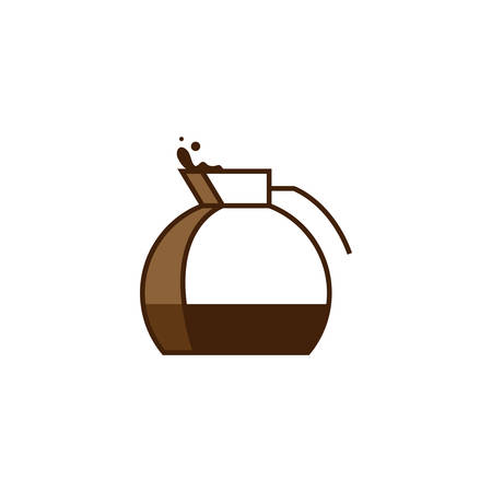 Glass kettle filled with coffee. Cofee kettle creative vector icon. Logo, design elements for cafe, coffee related brand. Isolated on white background