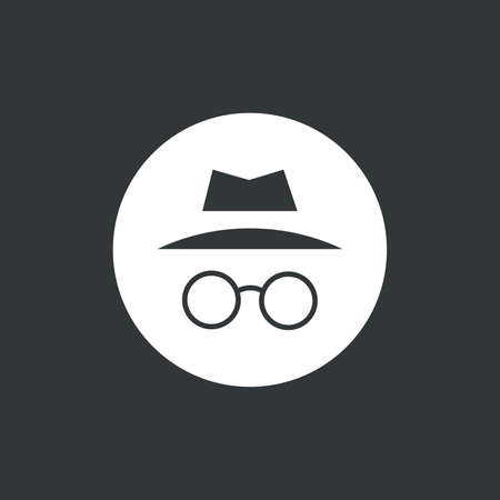Ilustración de vector de icono de incógnito. Navega en privado. Aislado en círculo blanco Ilustración de vector