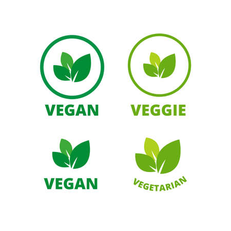 Vegan logo green leaf label template for veggie or vegetarian food package design. Isolated green leaf icon for vegetarian bio nutrition and healthy diet or vegan restaurant menu. Vector set