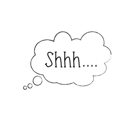 Silence shhh no speech bubble, no speaking, no talking shhh vector. Be quiet, silent, no talking, sound off flat icon. Isolated on white background Illustration