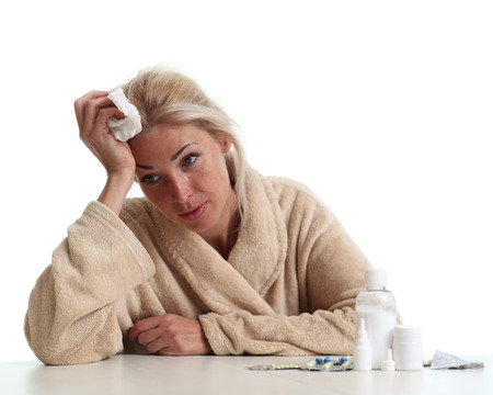 unhealthiness: Sick young woman Stock Photo