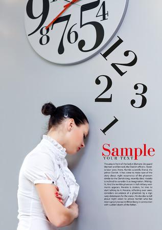 Beatiful Business Woman under the clock. Concept Standard-Bild