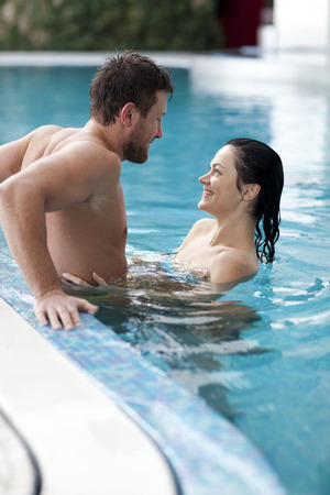 Couple relaxing   of spa center