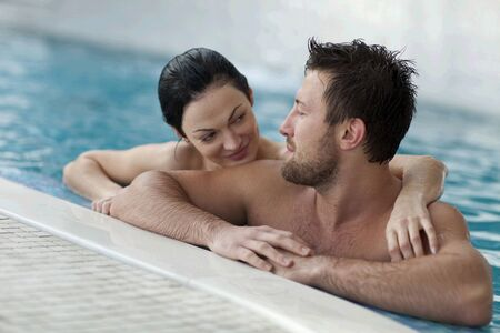 Couple relaxing in  spa center
