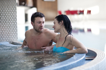 thalasso: Couple relaxing in spa center Stock Photo