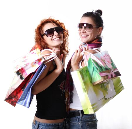 Two happy teenage girls on a shopping Stock Photo