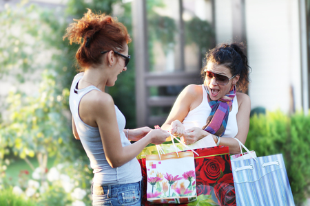 Two happy teenage girls on a shopping Standard-Bild