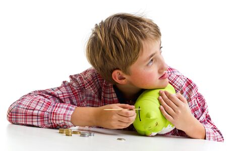 stow: The boy gets money from the piggy bank