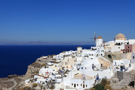 white-blue Santorini - view of caldera with churches Stock Photo