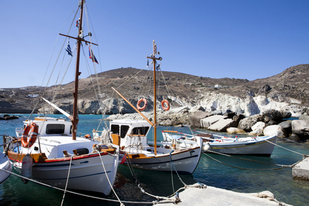 Fishing boats at the coast of Folegandros, Greece