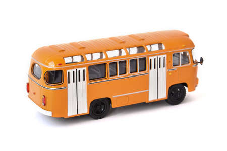 Scale model of a yellow Russian bus. Collectible Model.