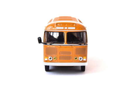 Scale model of a yellow Russian bus. Toy yellow bus