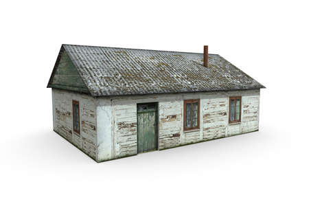 Old booth render on a white background. Isolate with 3D models