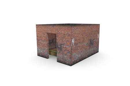 Old booth 3D rendering on a white background. Isolate with 3D models