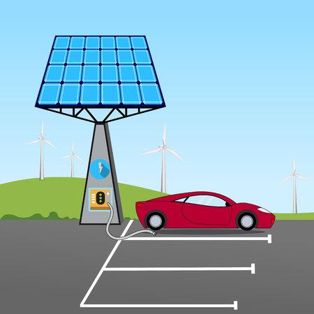 Solar powered car Vector illustration.