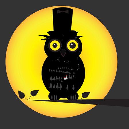 Owl in dark forest Vector illustration. Archivio Fotografico - 96728335