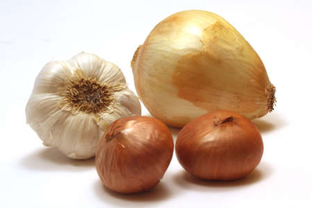 Onion, Garlic and Shallots on a White Background