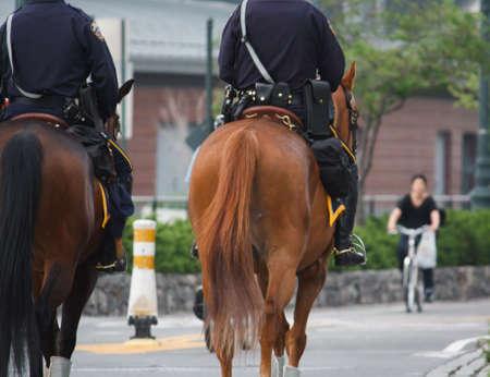 Cops with full gear on horseback patrolling the neighborhood