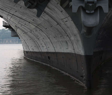 The hull of a United States aircraft carrier