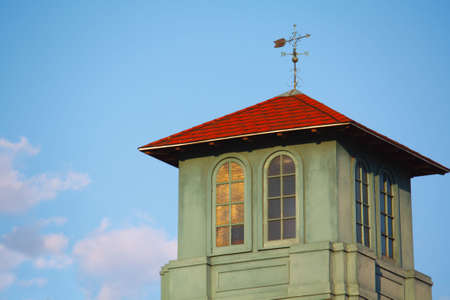 Weather Vane on to p of a bridge house indicating southerly winds Stock Photo