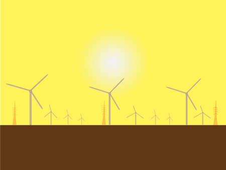 Solar Wind Mills with a blazing sun background