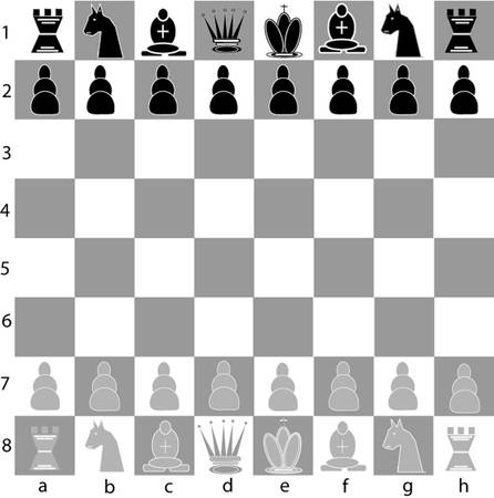 A full chess board with all 32 pieces.