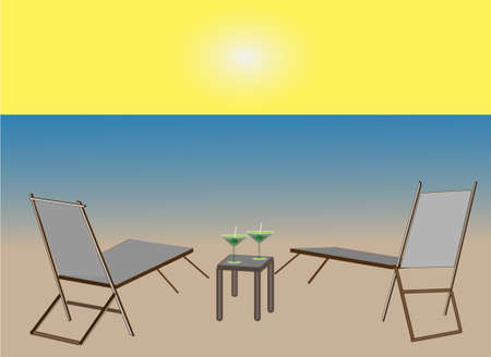 A beach scene with the ocean, sand and a blazing sun along with two beach chairs and a small table with cocktails