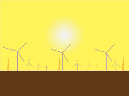 Solar Wind Mills contre un soleil de plomb Illustration